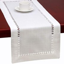 Grelucgo Handmade Hemstitched Natural Rectangle White Lace Table Runners 14x144
