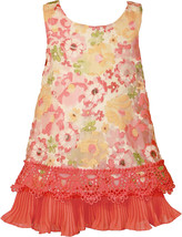 Bonnie Jean Little Girl 2T-4T Coral Floral Organza A-line Social Party Dress