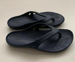 Crocs Thong Flip Flops Sandals Navy Blue Women's Size 5 Lightweight Kayd... - $11.87