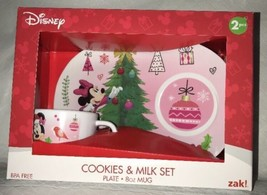 Minnie Mouse Christmas Santa Cookies & Milk Set Nib Plate & Cup Zak! Disney - $29.69
