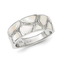 925 Sterling Silver Polished Mother of Pearl Heart Ring Size 6 - 8 - $27.05