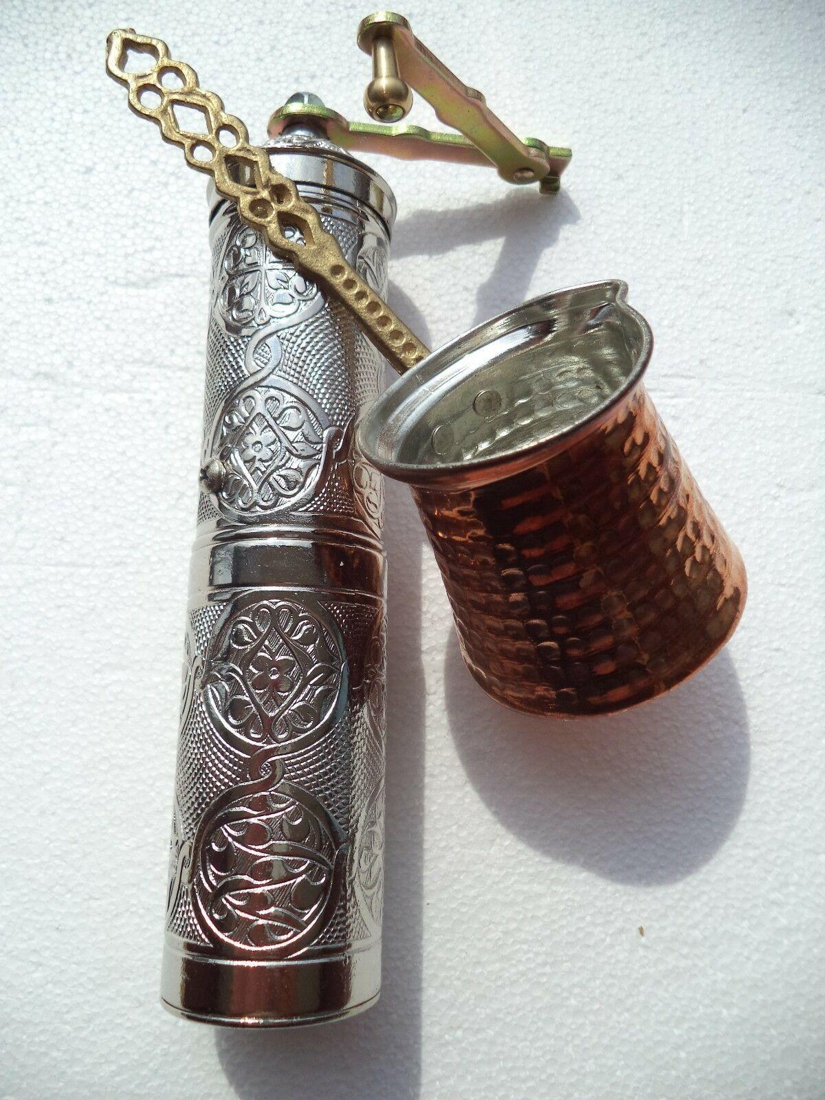 Traditional Handmade Acar Turkish Coffee Grinder 8.7'' Zamak Antique+Coffee Pot
