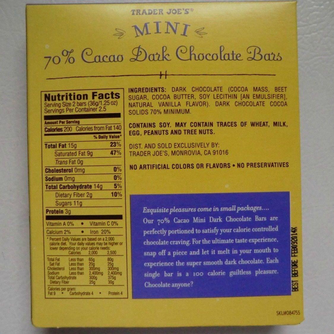 Trader Joes Mini 70 Cacao Dark Chocolate Bars Belgian 3 Pack