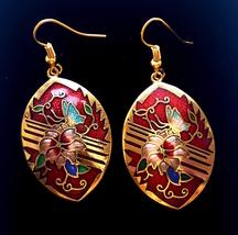 Cloisonne Red Enamel Flower & Butterfly Gold Tone Drop Earrings - $31.40