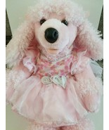 Build A Bear Pink French POODLE Dog Curly Hair PlushTongue out 18 In. wi... - $21.28