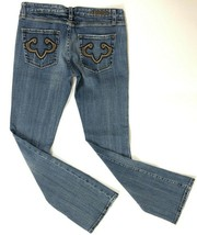 Rerock Express Jeans 4 Women Flare Boot Blue Distressed Denim Stretch - $19.99