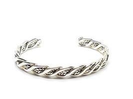 Sharp Silver Tone Twisted Cuff Bracelet Vintage - $15.29