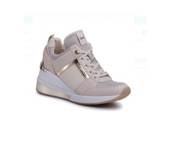 ❤️nib Michael Kors Georgie Trainer Extreme 43S0GEFS8D Champagne Snakers Shoes - $109.00