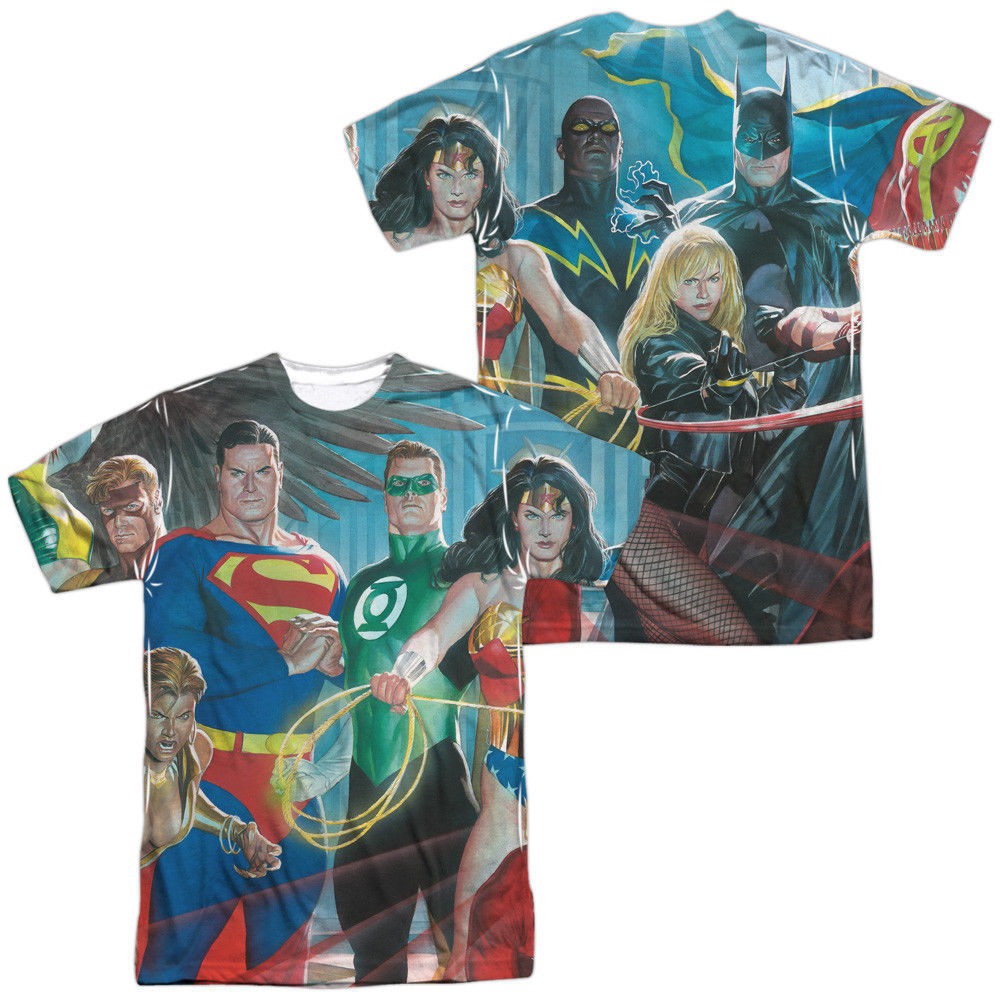 Primary image for Authentic Justice League of America JLA Hero Sublimation ALL Front Back T-shirt