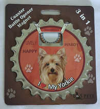 Yorkie Coaster Bottle Opener Magnet 3 in 1 Dogs Unique Yorkkshire Terrie... - $11.87