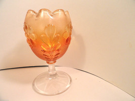 Vintage Carnival Glass Daisy & Plume Marigold Stemmed Compote Plain Top ... - $17.49