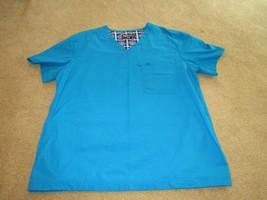 EUC  Uniform Nurse Scrubs Smock  Echo Unltd brushed cotton blend plain blue  rm2 - $9.50
