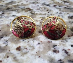 Vintage Gold Plated Enamel Round Red Horse Earrings Pierced - $8.50