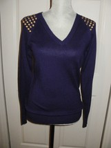 Michael Kors Accent Grommet Shoulder Purple V-Neck Sweater (Small) Nwt $120.00 - $57.97