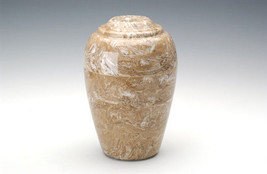 Large Grecian Marble Syrocco Adult Funeral Cremation Urn, 190 Cubic Inches - $194.99