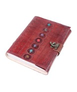 7 Stones Leather Journal Book Medieval Handmade Book Shadows Notebook  - $29.69