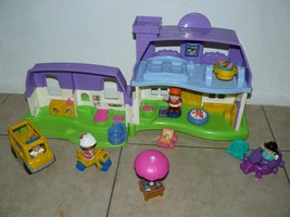 Fisher Price Little People two story house with sounds front yard, peopl... - $24.35