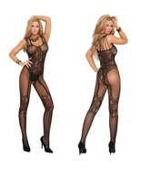 Sexy Lingerie Much-loved Floral Open Crotch Mesh BodyStockings,Black (XS... - $21.50