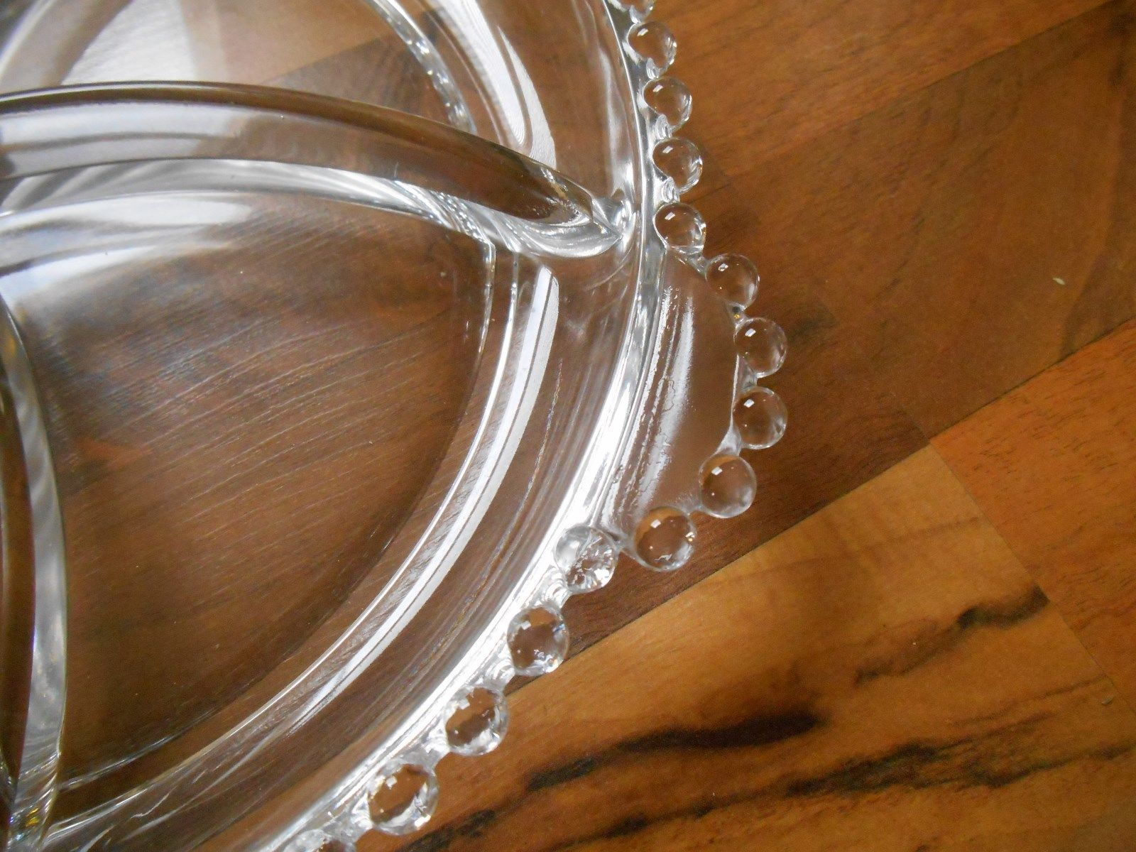Old Vintage Elegant Glass Candlewick Divided Tray Dish Relish Bowl Plate Crystal