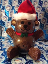 Handmade Glass Christmas Teddy Bear - $38.26