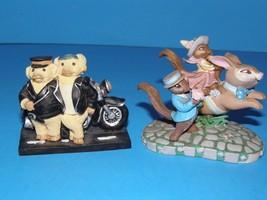 1993 AVON KATHY JEFFERS CAROUSEL COLLECTION, BUNNY RABBIT & 2 PIGS ON MO... - $9.49