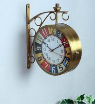 Gold Metal Colorful Dial Railway Station Clock - $365.00