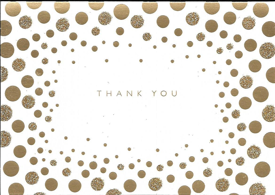Marcel Schurman Thank You note Cards ivory gold glitter Dots 10 boxed set C