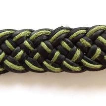 GREEN BLACK LEATHER WOVEN TIE ON FRIENDSHIP BRACELET WITH ABALONE SHELL SWIRL image 3