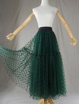 DARK GREEN Tutu Skirt Women Midi Tutu Skirt Dark Green Dot Party Skirt Plus Size image 2