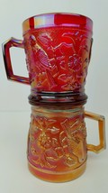 Pair Of Carnival Glass Imperial Robin Mugs In Marigold & Red - $27.69