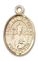 14K Gold St. Leo the Great Medal 1/2 x 1/4 inch - $224.13