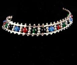 Vintage sterling bracelet / semi precious stones / italy gemstone jewelr... - $185.00