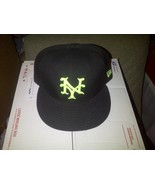 New Era 59fifty MLB NY York Giants Mets Black Neon Green Fitted Hat Cap ... - $29.99
