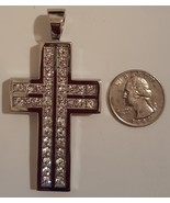 316L Stainless Steel Hip Hop CZ Cross Charm Pendant 3 in 6mm thick 55 gm... - $59.99