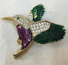 Hummingbird Brooch Pin Green & Purple Enamel Rhinestones Gold Tone Metal... - $14.84