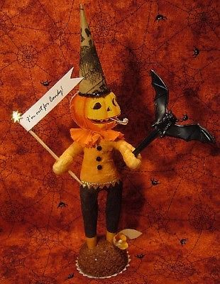 Vintage Inspired Spun Cotton Halloween Pumpkin Man