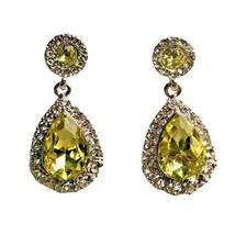 "Charter Club Gold-Tone Pavé & Stone Drop Earrings Yellow 1"" NEW NWT 24.50 - $5.94"