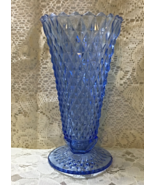 Vintage Indiana Glass Diamond Point Blue Vase Tall Vintage Collectible Vase - $14.00
