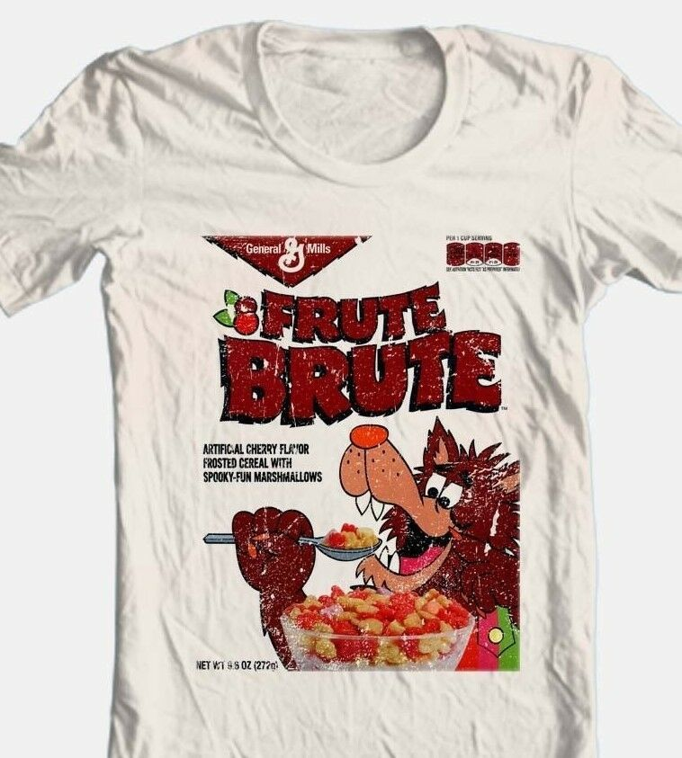 Fruit Brute Box T-shirt monster cereal Boo-Berry retro 80's cotton beige tee