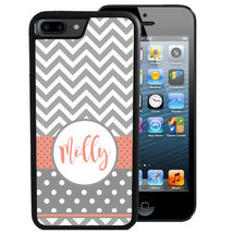 PERSONALIZED CASE FOR iPHONE XR XS MAX X 8 7 6 PLUS GRAY CORAL CHEVRON DOTS - $13.42