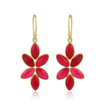 Floral Designer 925 Silver Gold Plated Pink Chalcedony Gemstone Earrings - $34.65