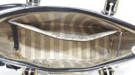 NWT Brahmin Mini Asher Satchel/Shoulder Bag in Black Miramonte-Cream with Black image 7