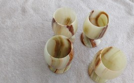 Onyx-Marble-Stone-Wine-Cup-Glass-Shots-4-Pc-Set-4-INCH-GOBLETS-GIFT - $94.38