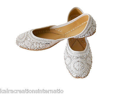 Primary image for Women Shoes Indian Handmade Jutties Leather White Flat Mojari US 12