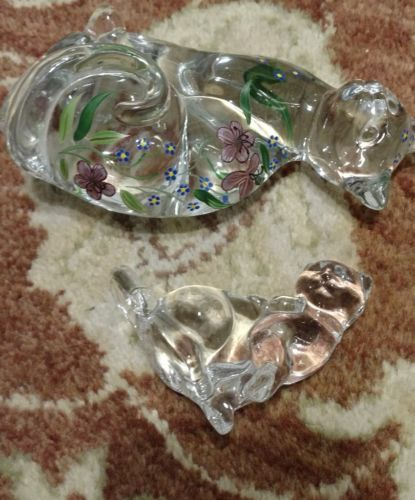 """Lenox Glass Cats Figurines from Estate 6"""" & 3.5"""" Hand Painted image 7"""