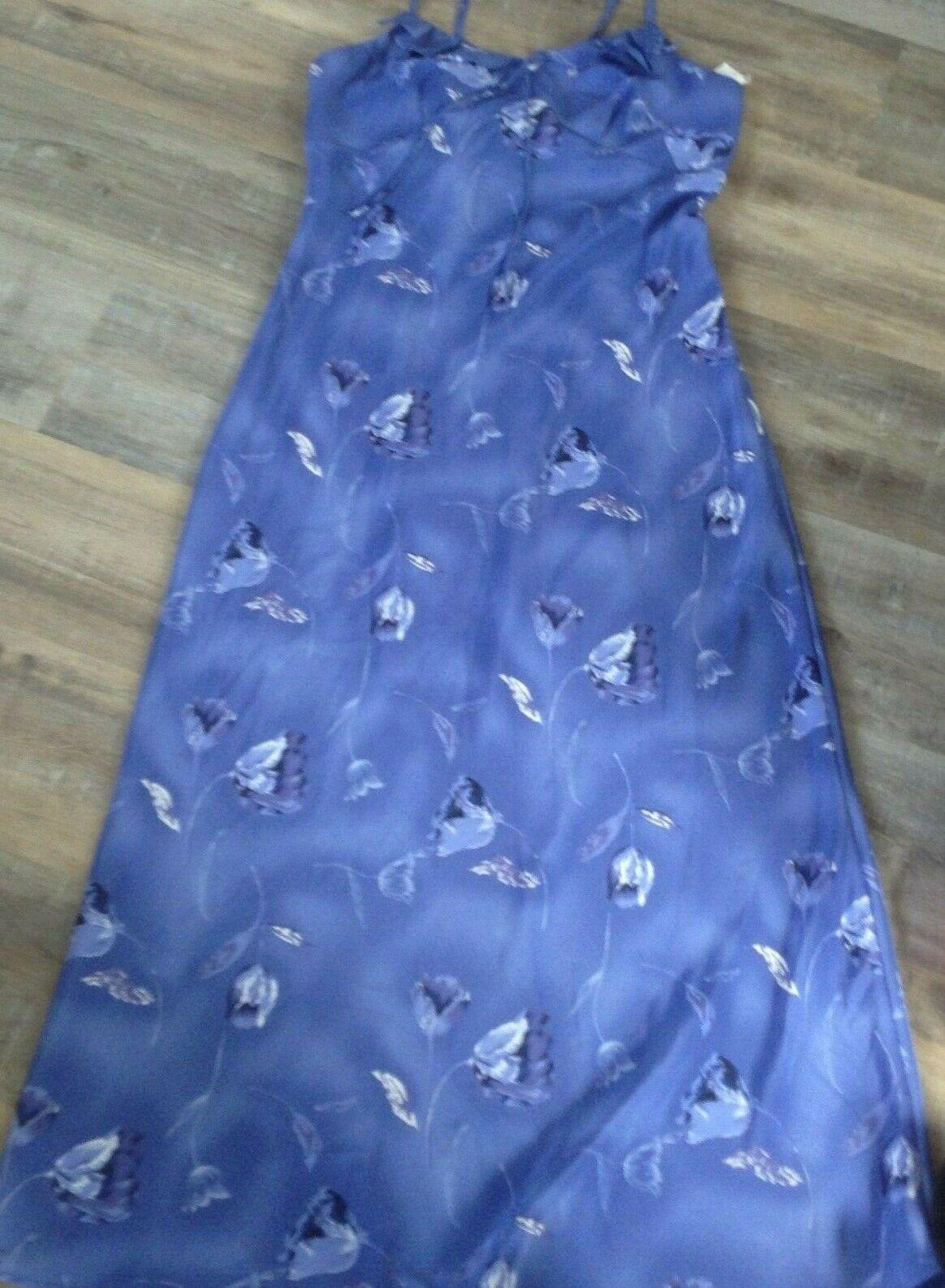 NWT NEW fashion bug blue floral long  spaghetti strap  Dress Sz 12 dressy