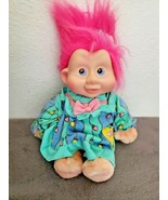 Vintage 1991 Applause Magic Troll Baby Stardessa Pink Hair Plush Doll Bl... - $24.73