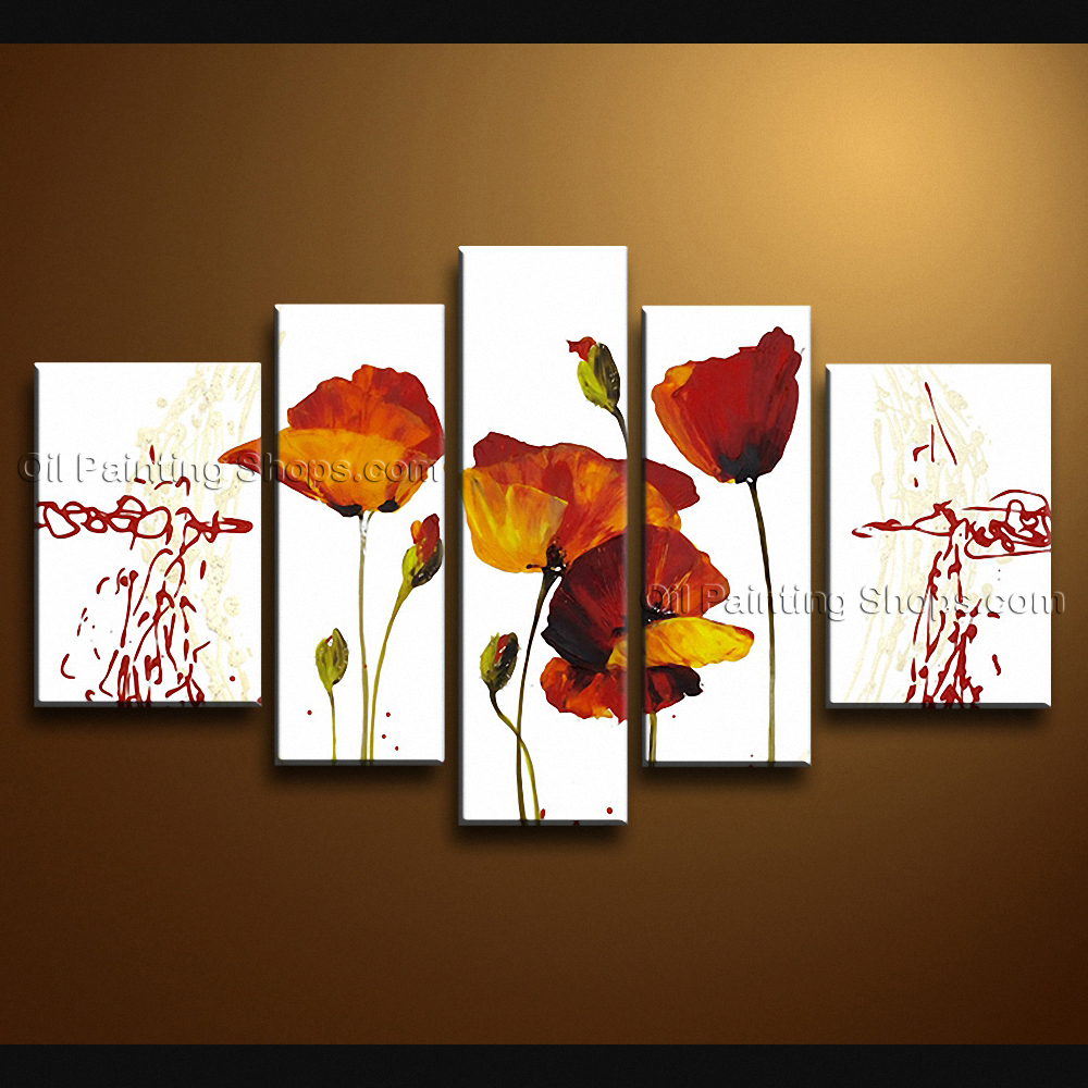 large contemporary wall art floral painting poppy flower. Black Bedroom Furniture Sets. Home Design Ideas
