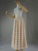 Women High Waist Tiered Tulle Skirt Polka Dot Champagne Maxi Tutu Skirt US0-US24 image 2