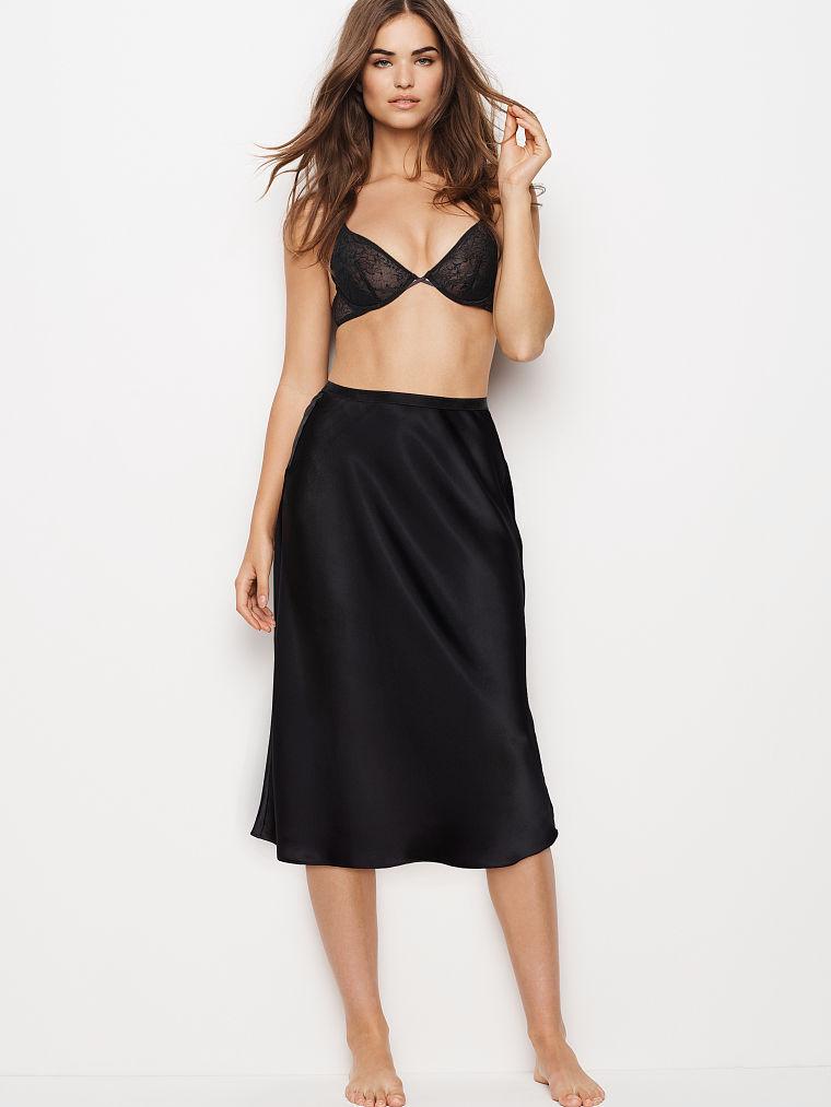Victoria's Secret Dream Angels Satin Midi slip skirt, animal print & Black, NWT - $50.00